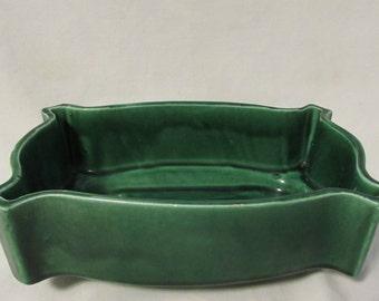 Dish Planter, Green Ceramic, Rectangular, UPCO 294, USA, 1960's