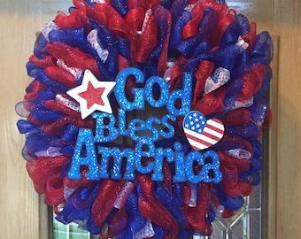 God Bless America Patriotic Wreath