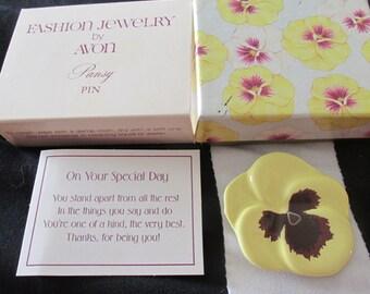 Vintage Avon Pansy Pin Fashion Jewelry 1981