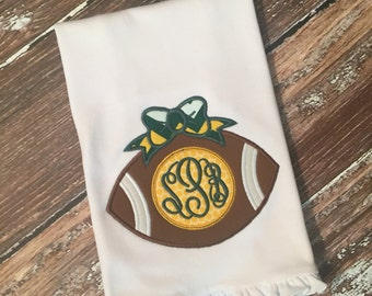 Personalized football with bow burp cloth