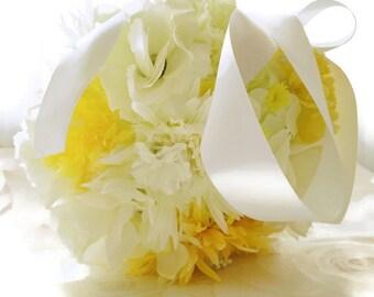 Fabric flower pomander, Yellow and white pomander, fabric flower kissing ball, wedding accessories, flowergirl pomander, bridesmaid pomander