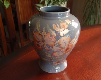 Shaddy Porcelain Vase Made in Japan Gray with Orange Coppery Tones Lovely Home décor a2404