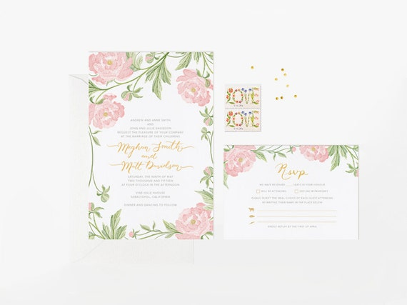 Personalized Wedding Invitation Beautiful Romantic Peony Floral