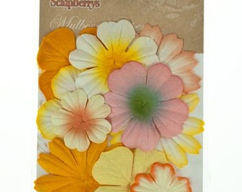 Scrapberry's Mulberry Paper.  Mini Flowers (Yellows) (305)