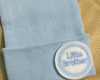 A Best Seller! Newborn Hospital Hat. Solid Blue Baby Boy Little Brother. Newborn Beanie. Every New Baby Boy Should Have!