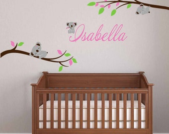 Removable Koala Bear wall decal on branches , Nursery Wall Decals - Kids Girls Baby Custom Name Peel &Stick Fabric, Repositionable