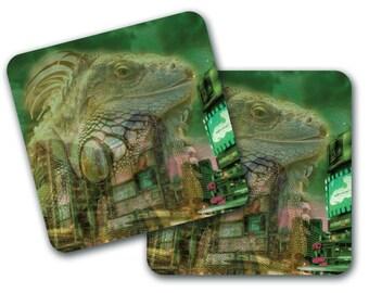 Set of 4 Lizard City Design Coasters (CO779)