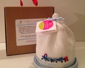 Baby Blue Choo Choo Train Hand-knit Newborn Baby Hat Colorful Crowns