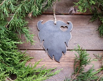 Beard Christmas Ornament Love Beards Heart Rustic raw steel Metal Christmas Tree Decor  Holiday Gift Personalize Wedding By BE Creations