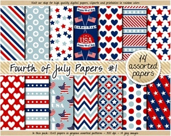 SALE 4th of July digital paper Fourth of July digital papers USA patriotic clipart independence day scrapbooking navy blue red patterns