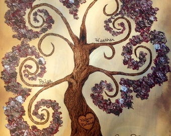 "WHIMSICAL FAMILY TREE 24"" x 32"", Custom Handmade  Wood Burned on Birch Wood and Enhanced with Oil and Latex Paint by Vicki Hamende"