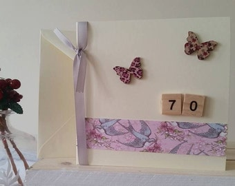 70th Birthday Card For Her with Butterflies : Unique Handmade Card for Seventieth Birthday