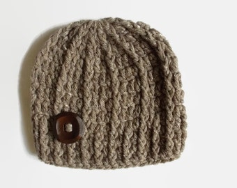 Crochet baby hat Wool newborn hat Winter baby hat Baby boy beanie Newborn boy outfit Brown baby hat Newborn crochet hat Button baby hat