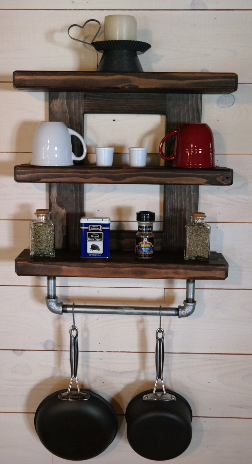 ON SALE Rustic Kitchen Industrial Cast Pot Rack Iron Pipe