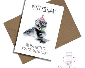 crazy cat lady birthday card