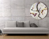 Large White Wall Clock, Glass Wall Sculpture, Collectible Glass, Modern Wall Hanging, Unique Wall Decor, Home Decor, White Wall Art, Luxury