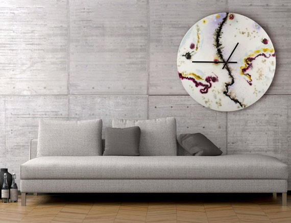 Modern Glass Wall Decor : Large white wall clock glass sculpture collectible