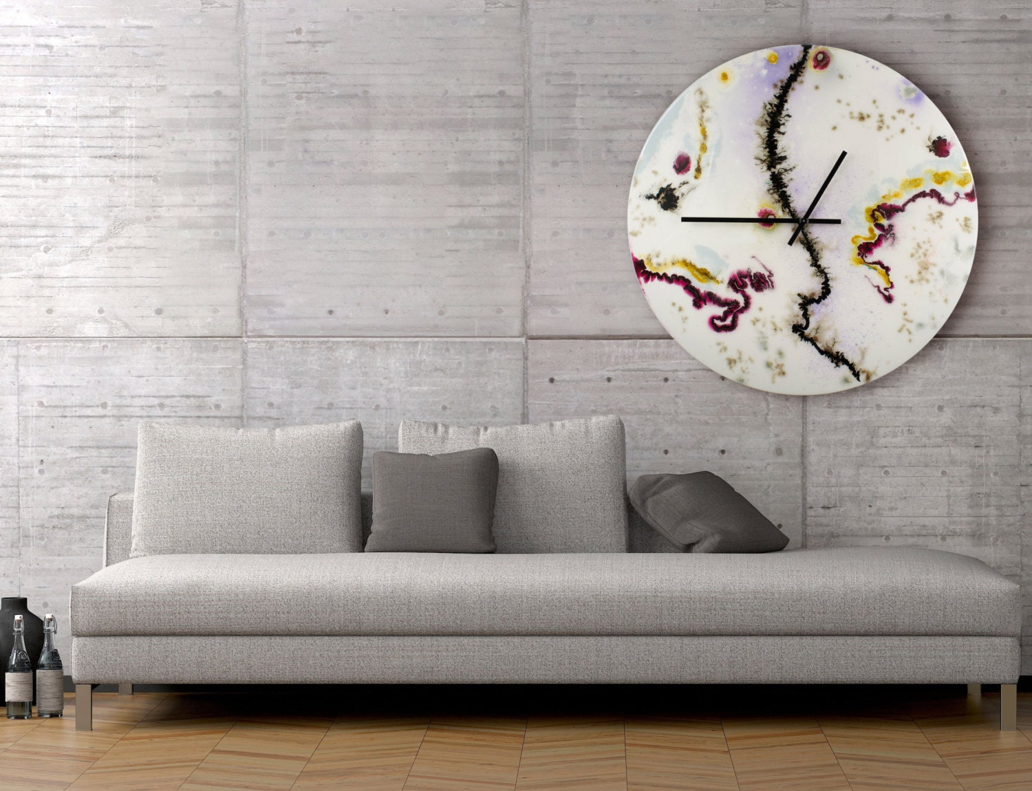 Large white wall clock glass wall sculpture collectible for Large glass wall