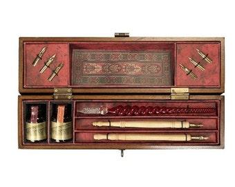 Wooden box vintage Calligraphy Set / writing set