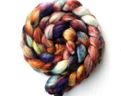 RICOCHET color, Blue-Faced Leicester, silk.  spinning fiber, roving, handpainted, hand dyed, top,
