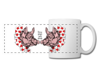 Vegan Vegetarian 'Love Pigs Not Pork' Vintage Pig Design Illustrated Ceramic Mug Cup. White.