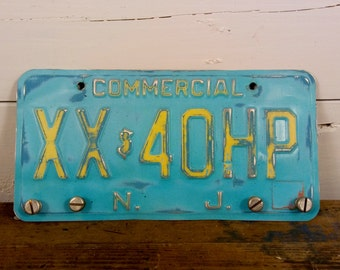 Key Rack, Man Cave Decor, License Plate Art, New Jersey, Distressed, Blue Decor, Auto Decor, Commercial Recycled Upcycled Repurposed, USA