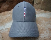 Men's Dri Mesh Golf Hat Charcoal Grey with Embroidered USA Flag Tee Design | Great Golf Gift Item