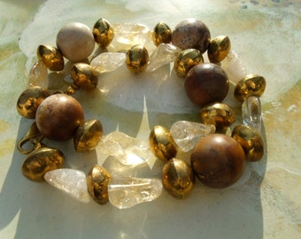 Petrified wood pendant necklace with Citrine and brass of beads
