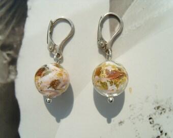 Murano glass beads earrings light rose gold