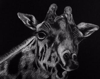 Giraffe Art Print, Giraffe Drawing, Giraffe Illustration, Giraffe Art, Giraffe Print, Giraffe Decor, Nursery Wall Decor, Nursery Art