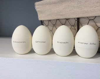 Painted Wood Eggs with Words, Egg Spring Decor, Easter Decor
