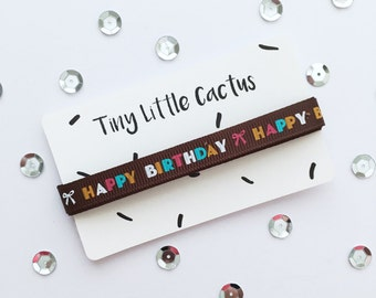 Happy Birthday Ribbon (Ribbon), polyester, single-sided printed (Single Face), 1 cm wide (wide)