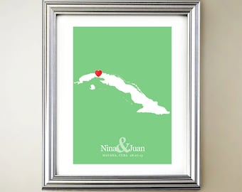 Cuba Custom Vertical Heart Map Art - Personalized names, wedding gift, engagement, anniversary date