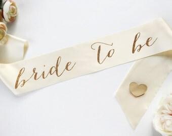 Bride to Be Sash - Bachelorette Sash - Bridal Shower Bachelorette Party Accessory  - Bride Gift - Bride Sash WITH HEART PIN