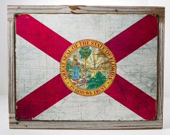 Framed Florida State Flag Metal Sign, Americana, Rustic Décor HB7094F