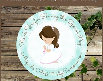 First Holy Communion Girl Favor Tags - Printable Label- Religious Party Printable - Primera Comunion - Aqua First Holy Communion Tag