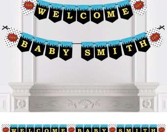 BAM! Superhero - Bunting Banner - Personalized Baby Shower or Birthday Party Decorations