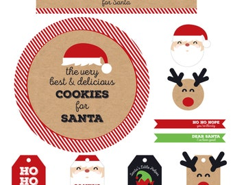 INSTANT DOWNLOAD - Santa's Milk and Cookies - Christmas Eve Party Printable