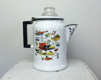Vintage Georges Briard Enamel Coffee Pot