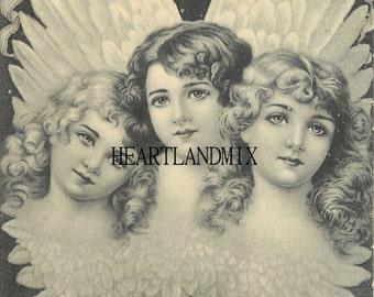 Large Angels Vintage Christmas Image Art Graphic Download