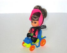 1969 Kiddles N Kars - Mattel Liddle Kiddle 3641 - Henrietta Horseless Carriage - Blue Car - Brown Hair Updo And Eyes - Excellent Condition