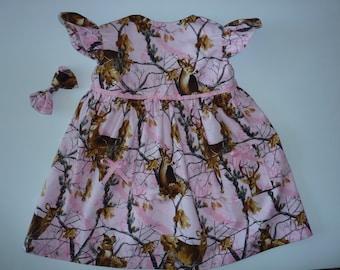 Pink Deer Print Baby Girl Dress