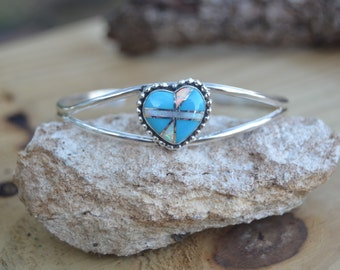 Charming Navajo sterling silver bracelet with turquoise and opal inlaid heart
