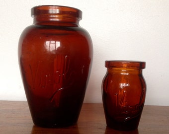 Vintage/Antique Amber Glass Jars. Viral Pots 1900-1909
