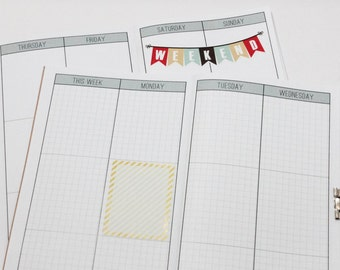 Week on 4 Pages Vertical Weekly Planner Grid Printable Download {Passport Size} Traveler's Notebook Insert Booklet