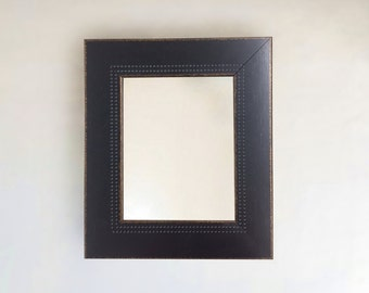Espresso Rustic Indented Dot Texture Framed Wall Mirror | Inside Sizes: 8x10 24x36 Outside (13.5 x 15.5)(29.5 x 41.5)
