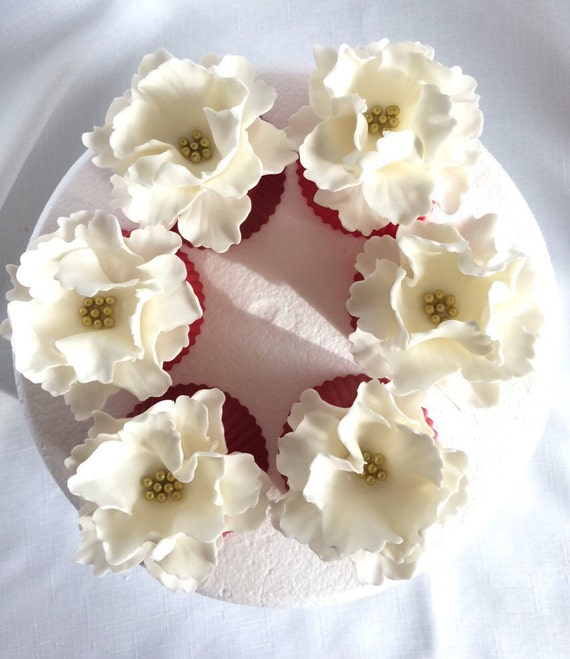 Fondant Flowers For Wedding Cakes: Fondant Flowers 6 Peony Cupcake Toppers Edible Flowers