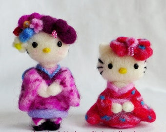 Needle felted  set of 2 dolls- Kimono Kitty(purple and red)