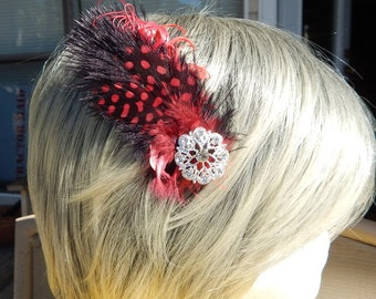 Red and Black Feather Hair clip with Rhinestone accent