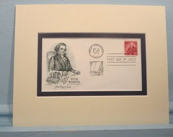 Noah Webster compiles the Webster Dictionary & First day Cover of his own stamp